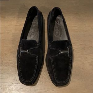 Tod's vtg black suede leather gommini loafers 6.5